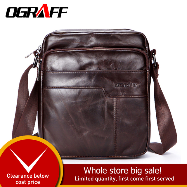 OGRAFF New Fashion Men bag Genuine Leather Messenger Bag Male Oil Wax Leather Cross body Shoulder Bag Cowhide Men Bag Briefcase