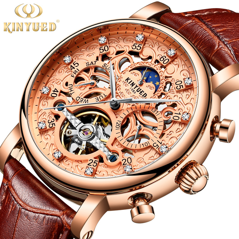 KINYUED Mechanical Watch Men Automatic Skeleton Waterproof Moon Phase Calendar Mens Watches Tourbillon Business Horloges Mannen стоимость