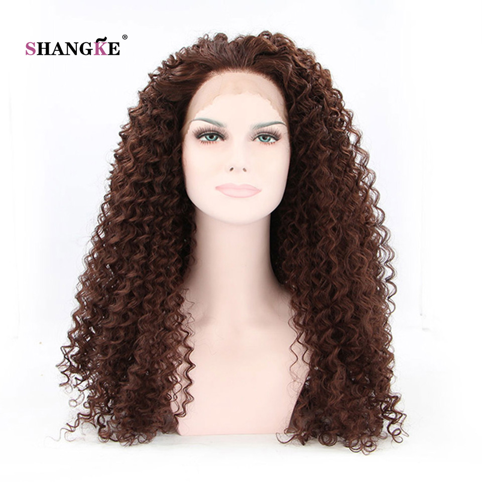 SHANGKE Hair 26'' Long Curly Lace Front Wig Dark Brown Synthetic Wigs For Black Women Heat Resistant Synthetic Fake Hair Wig