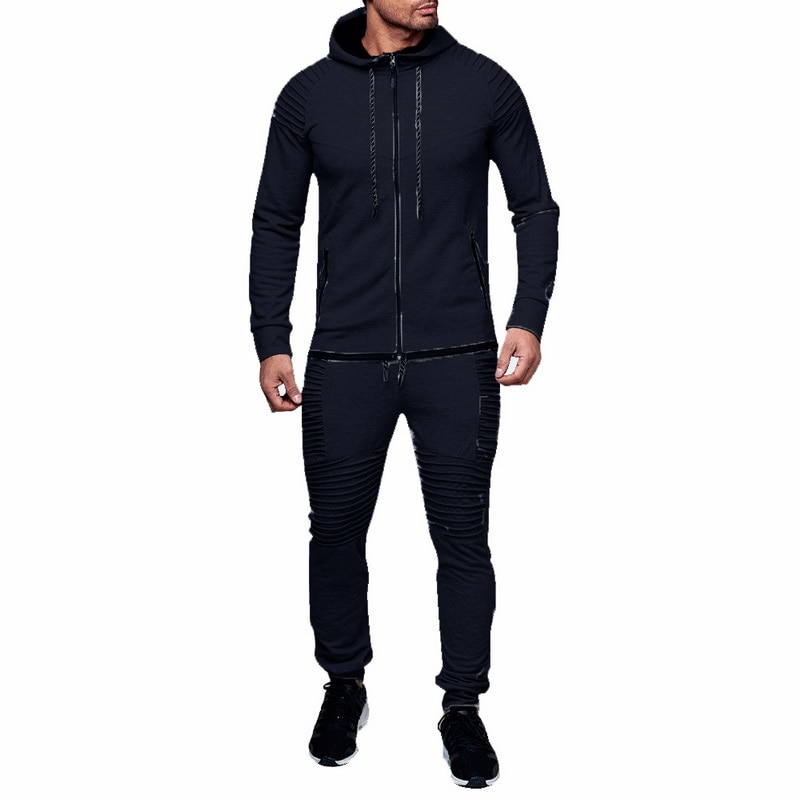 HTB1cPa atfvK1RjSspfq6zzXFXa4 HEFLASHOR Men Drawstring Sportwear Set Fashion Solid Sweatshirt&Pants Tracksuit Casual Zipper Hoodies Outwear Clothes 2019