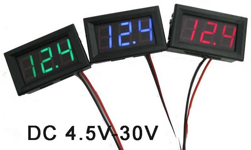 DC 4.5-30V 0.56 inch LED display digital voltmeter for battery