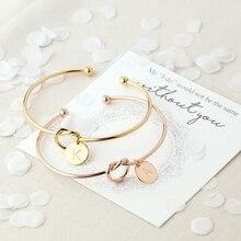 Новинка, Модный популярный браслет из сплава розового золота/серебра с буквами, цепочка-змейка, очаровательный браслет для женщин, Индивидуальные ювелирные изделия, подарки