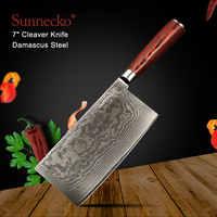 """SUNNECKO 7 """"pollici Mannaia Coltello Da Cucina In Acciaio di Damasco VG10 Chef Coltelli Giapponese Sharp Lama Pakka Manico In Legno di Taglio di Carne strumenti"""