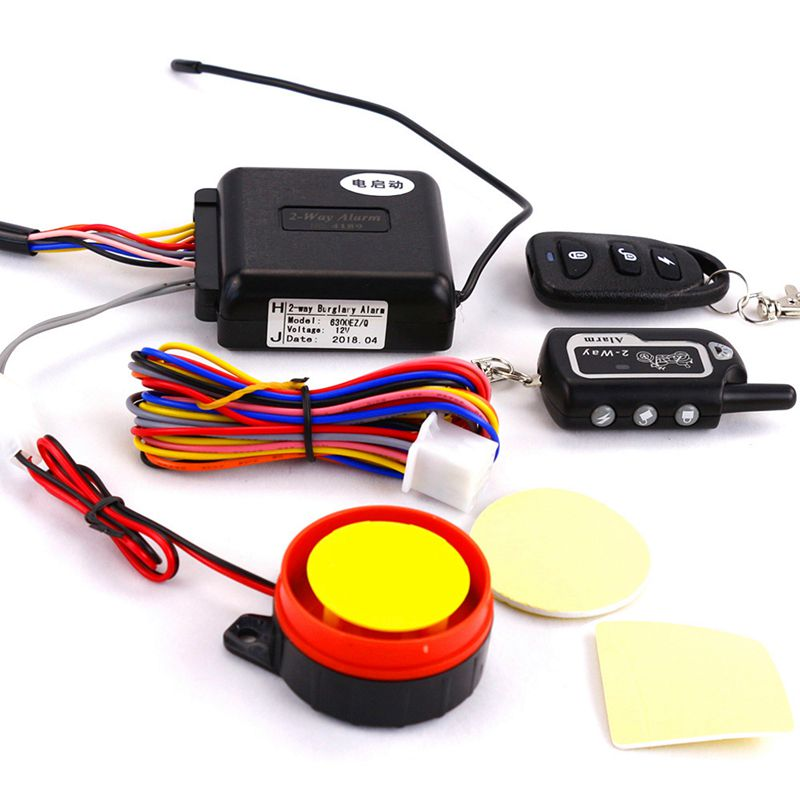 Two Way Alarm Motorcycle Scooter Security 2 Way Alarm Remote Control Engine Start Vibration Alarm Lock System|Alarm System Kits| |  - title=