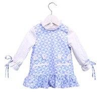 Ropa de los niños Niñas verano floral vestido princesa azul del color del encanto del collar Molinos de viento lindo vestido de manga larga