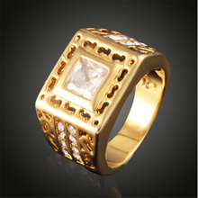 2016 Hot Sale 18K Gold Plated Mens Ring Set Fashion Inlaid Zircon Great Wall Pattern Wedding Rings Men Punk Man Ring