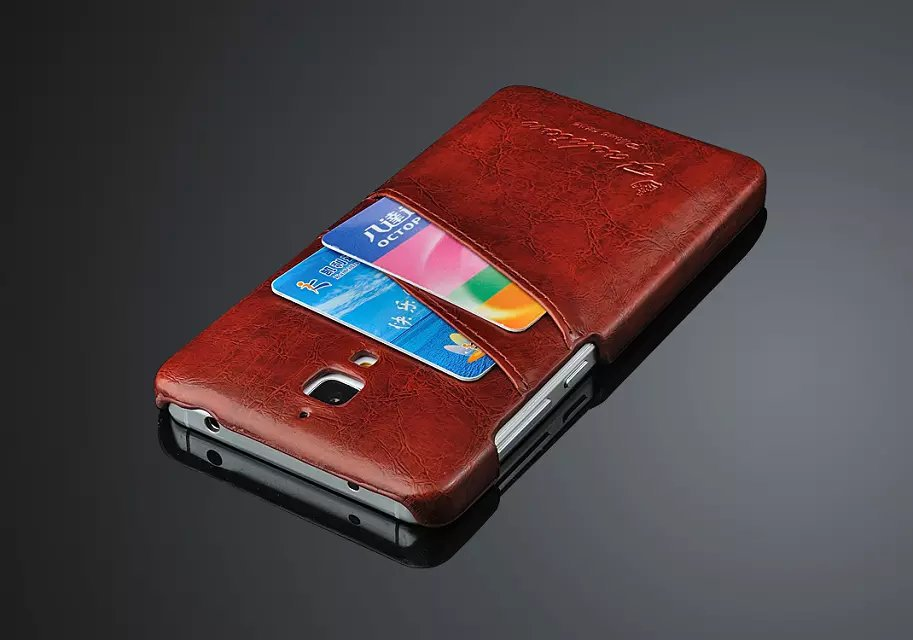 Mi4 Phone Cases Leather Hard Case with 2 Business Card Slot for ...