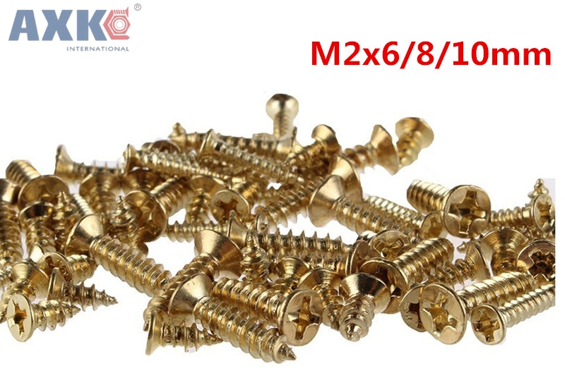 AXK 500PCS 2x6810mm Screws Nuts Golden M2 Flat Round Head Fit Hinges Countersunk Self-Tapping Screws Wood Hardware