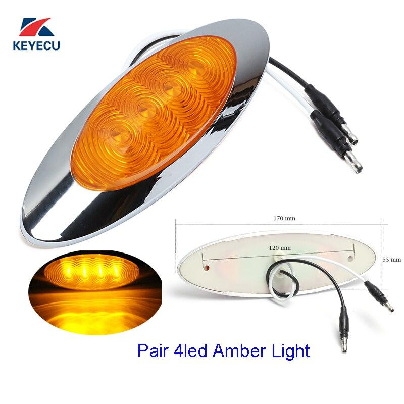 KEYECU 2Pieces 6-5/8 Amber 4LED Sealed Side Marker Light Cab Panel Marker Light for Peterbilt 24V with chrome bezel