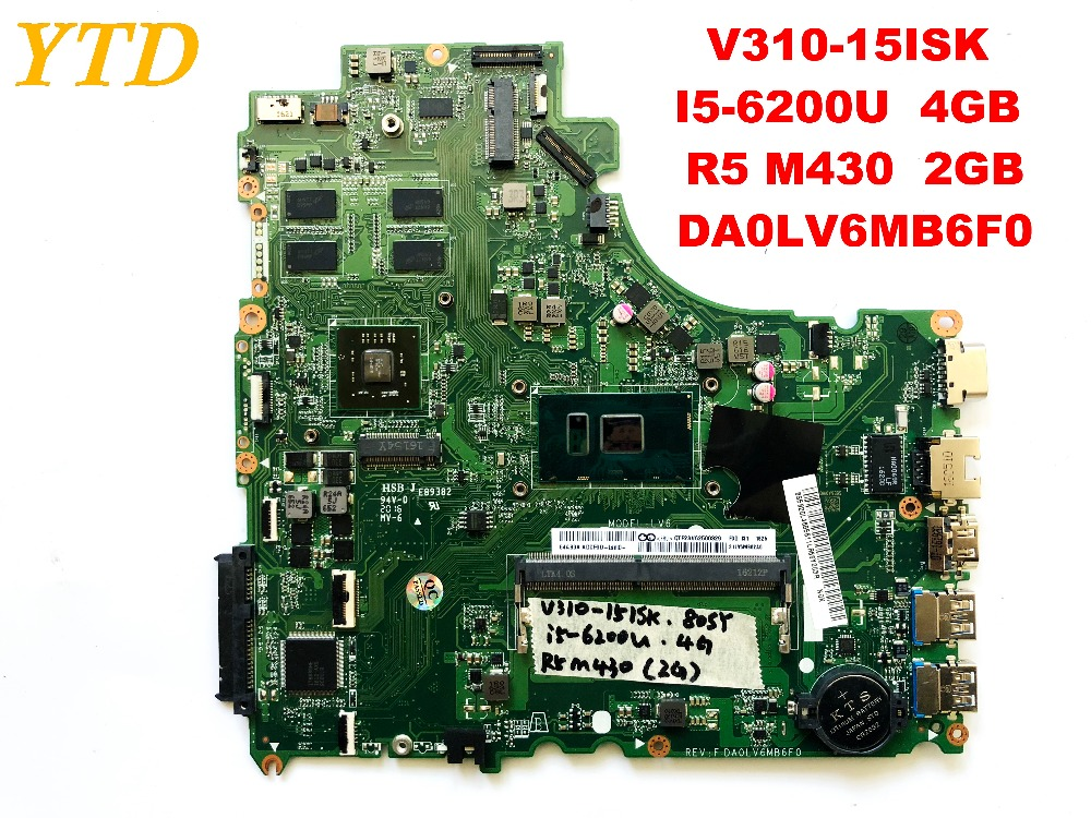 Original for Lenovo V310  V310-15ISK  laptop motherboard I5-6200U  4GB  R5 M430  2GB DA0LV6MB6F0 tested good free shipping Original for Lenovo V310  V310-15ISK  laptop motherboard I5-6200U  4GB  R5 M430  2GB DA0LV6MB6F0 tested good free shipping