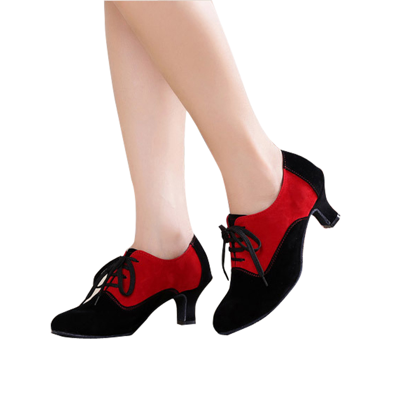 все цены на Woman Ballroom Latin Dance Shoes Female Black Red Modern Shoes Women Tango Rumba Dance Shoes Mid-Heels 3.5/5.5cm Suede Sole 1607 онлайн
