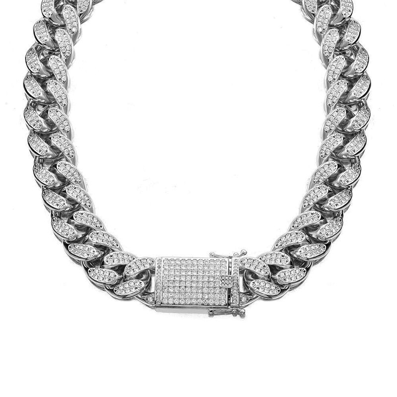 18mm Hip Hop Stainless Steel Iced Out Fully CZ Mens Silver Miami Cuban Link Chain Necklace Bracelet cz Male Jewelry set
