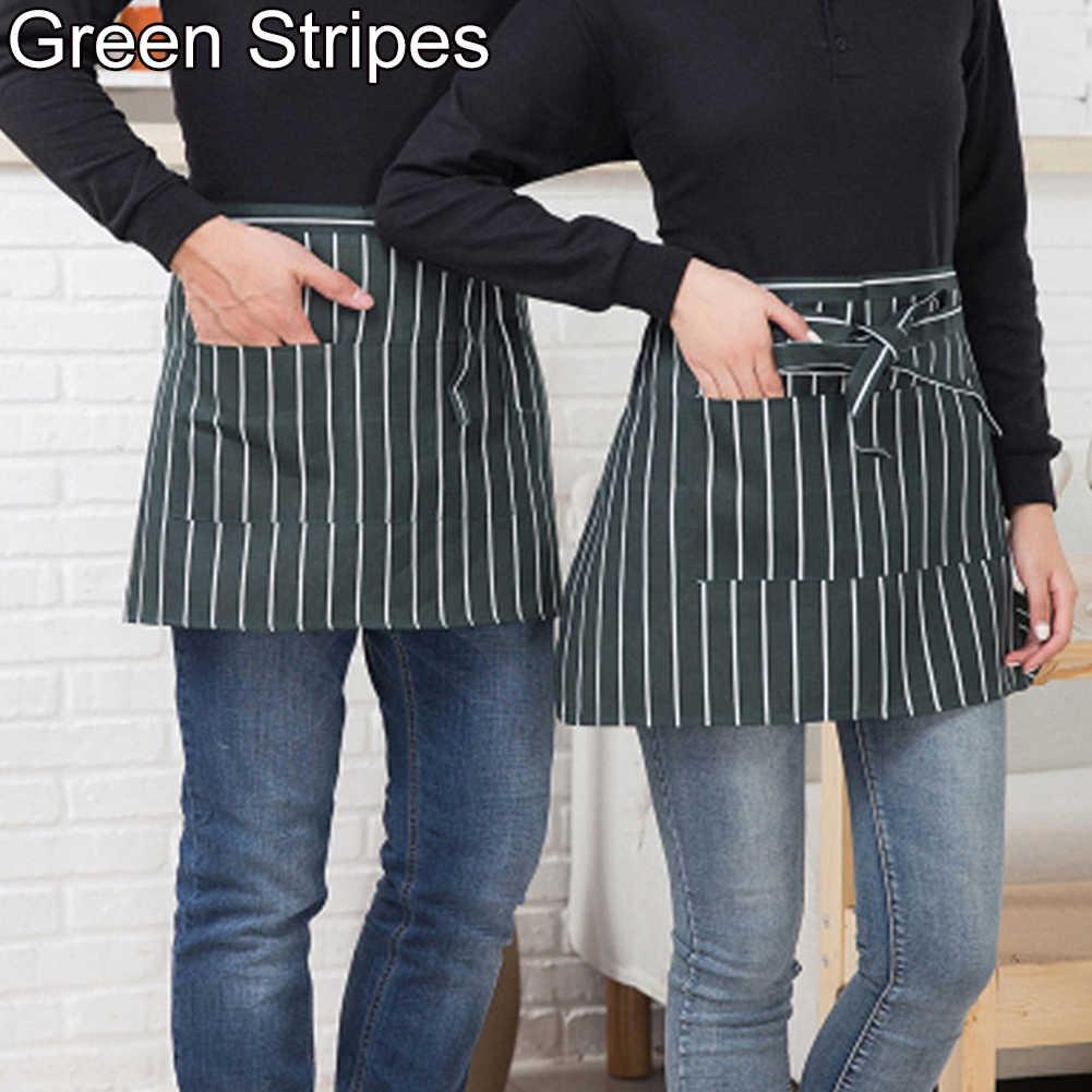 HomLand Striped Plaid Half-Length Short Waist Apron with Pocket Catering Chef Waiter Bar for Female Girl Women