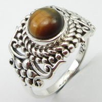 92.5% Solid Silver Round Tiger's Eye Antique Look Ring Sz 8.5 New Gift Unique Designed