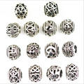 10Pcs 5mm Hole Antique Silver Round European Big Hole Beads Spacer Beads for DIY Jewelry Making Charms Bracelets Findings Z539