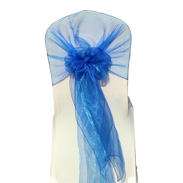 FREE SHIPPING !!!! Sky Blue 100pcs Organza Hood Sashes for Chair Organza Chair Hood Wrap for Wedding