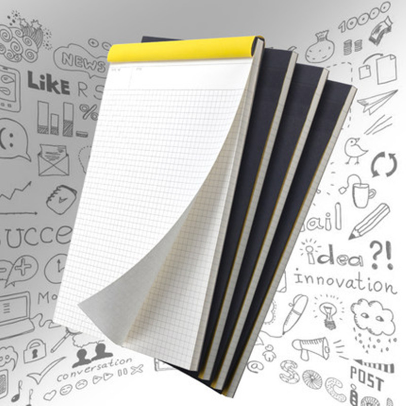2017 New Upturning kraft notebook Black Cover Graffiti Notebook Grid Line Legal Pad for Office School Suprimentos Kraft Notepad