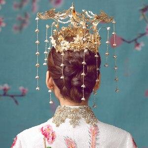 Image 5 - HIMSTORY Luxus Hochzeit Braut Vintage Chinesischen Pfau Haar Zubehör Braut Kopfschmuck Gold Phoenix Tiara Krone Haar Schmuck