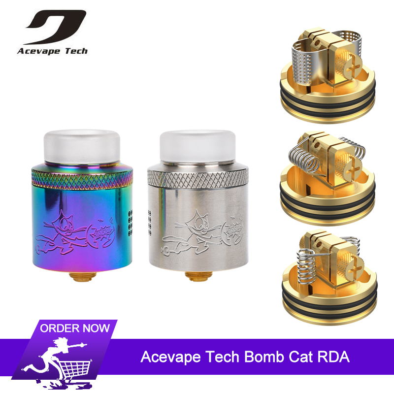 Original Acevape Tech Bomb Cat mesh RDA Tank Dual Coil 24mm with 16 Side Airflow Holes for nexMESH coil VS Wotofo Profile RDA база tfv12