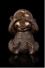 2015 New Year Lucky handicraft antique bronze Little monkey figurine Chinese zodiac mascot statue fengshui  art collection
