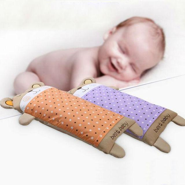 Bestbaby 100% Travesseiro Da Criança Infantil Bonito do Urso Do Bebê Do Algodão Da Cama Bebê Recém-nascido Macio Pescoço Travesseiro 35x62 CM
