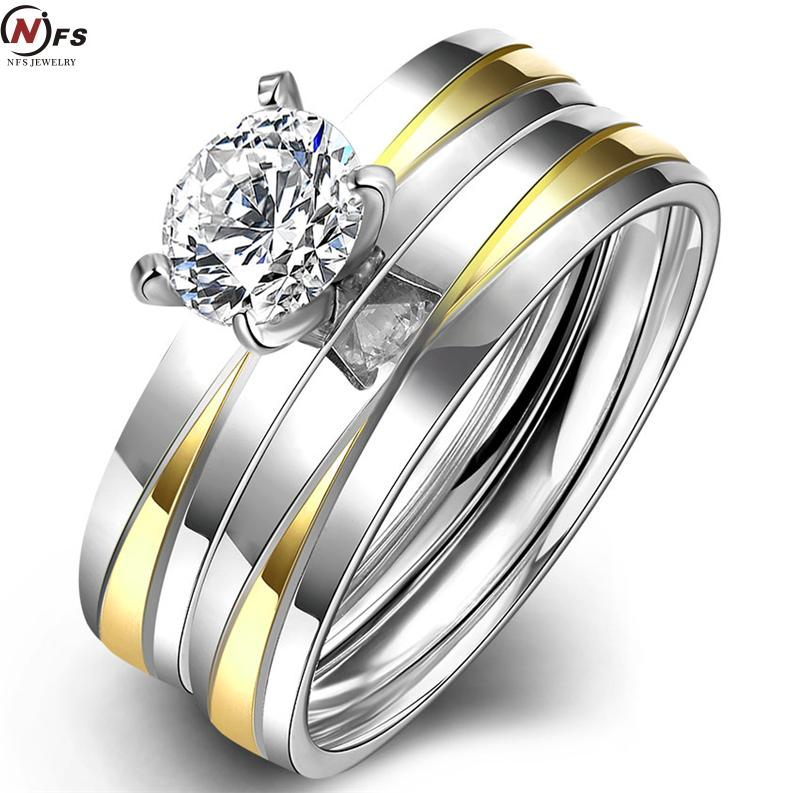 2pcsset 2016 new fashion gold color stainless steel wedding ring set cz jewelry - Stainless Steel Wedding Ring Sets