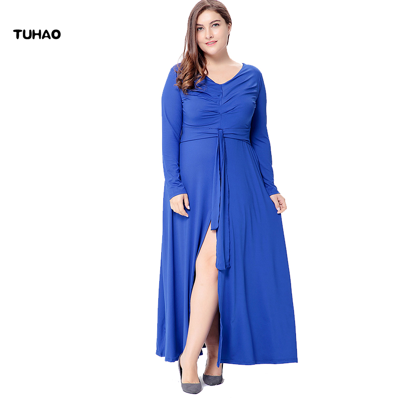 TUHAO Knitted Split Fork High Waist Dress Maxi Woman Solid Color Draped Plus Size 5XL 6XL Long Dresses Ladies Summer SQ37 plus size double pockets knitted dress