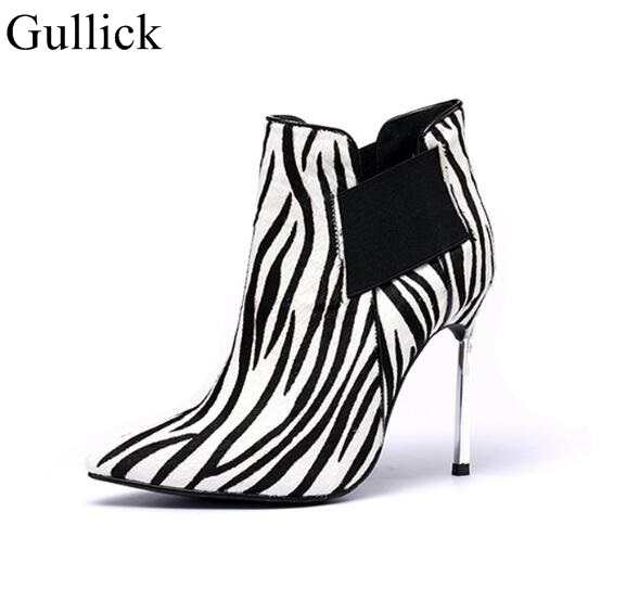 Sexy Pointed Toe Metal Thin Heel Slip On Women Ankle Boots Leopard Print Sexy Boots Fetish Heel Suede Women Winter ShoesSexy Pointed Toe Metal Thin Heel Slip On Women Ankle Boots Leopard Print Sexy Boots Fetish Heel Suede Women Winter Shoes