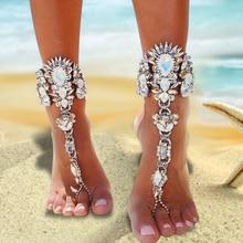ZOSHI Beach Ankle Bracelet Full Rhinestone Pie Leg Foot Chain Sexy Barefoot Sandals Boho Crystal Ankle Feet Summer Jewelry
