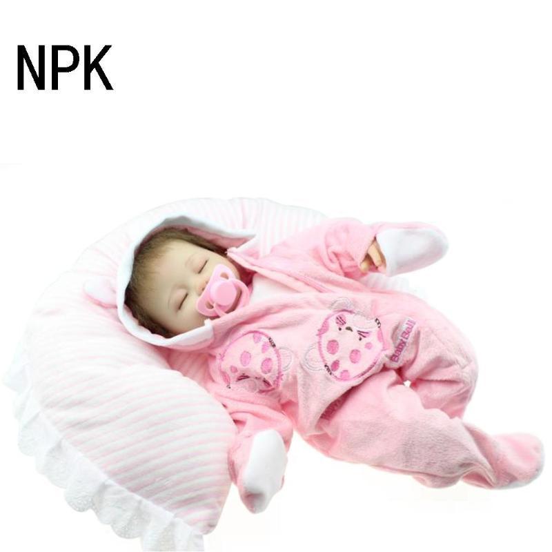 45cm Soft Silicone Reborn Dolls Baby Realistic Doll Reborn 22 Inch Full Vinyl Boneca Baby Reborn Doll For Girls
