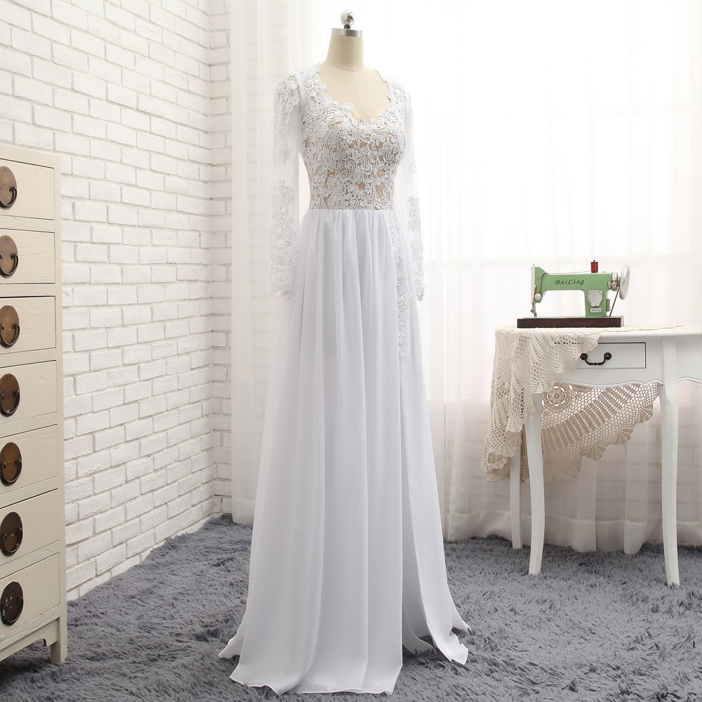 Sexy 2019 A lijn Sweetheart Kapmouwtjes Witte Chiffon Kant Slit Lange Elegante Prom Jurken Prom Gown Avondjurken Avondjurk - 3