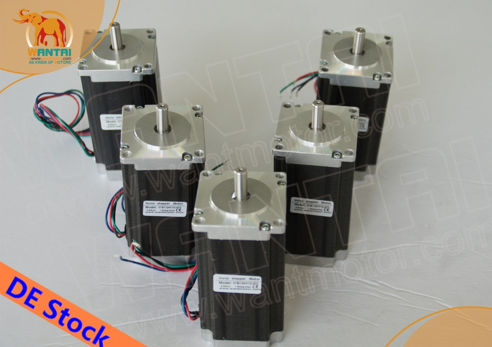 EU FREE CNC Wantai 5PCS Nema23 Stepper Motor WT57STH115-<font><b>4204A</b></font> 425oz-in 115mm 4.2A CE ROHS ISO Engraver Laser Machine image
