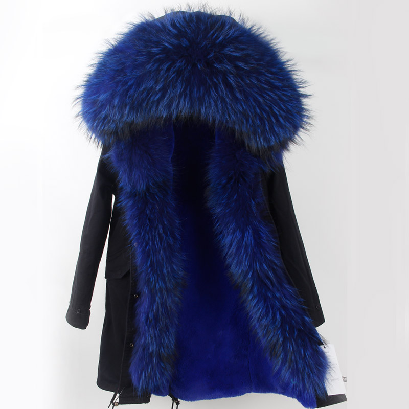 Real Fur Coat Long Parka 2017 New Winter Women Big Natural Raccoon Fur Hooded Parkas Warm Fashion Outwear Casual Style 2017 winter new clothes to overcome the coat of women in the long reed rabbit hair fur fur coat fox raccoon fur collar