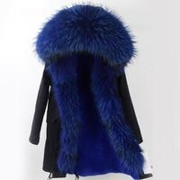 Real Fur Coat Long Parka 2017 New Winter Women Big Natural Raccoon Fur Hooded Parkas Warm Fashion Outwear Casual Style