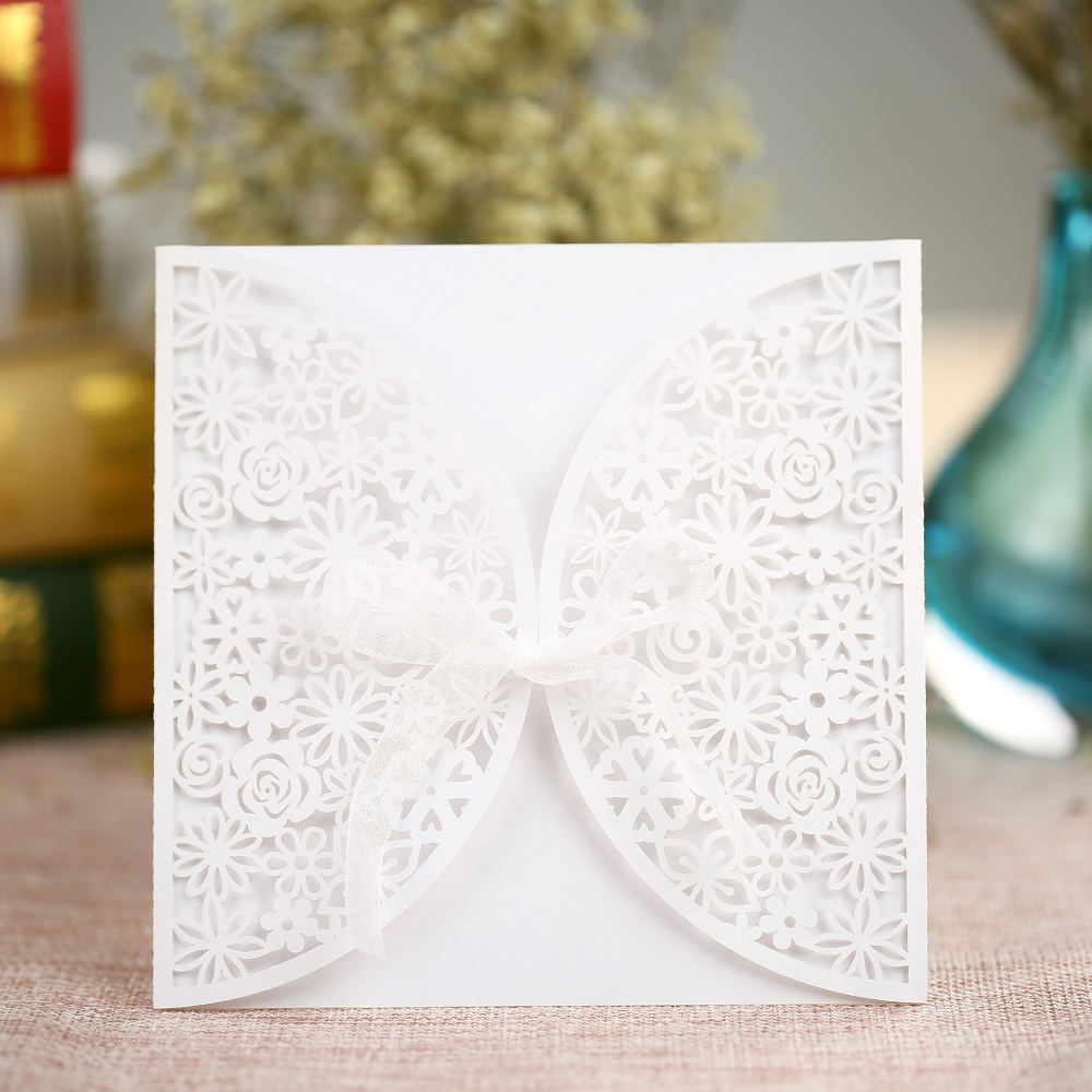 10Pcs Romantic White Wedding Party Invitation Card Delicate Carved ...