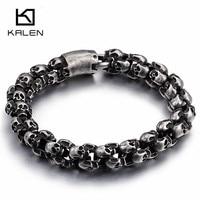 Kalen Punk 23cm Long Matte Skull Bracelets For Men Stainless Steel Brushed Skull Charm Link Chain