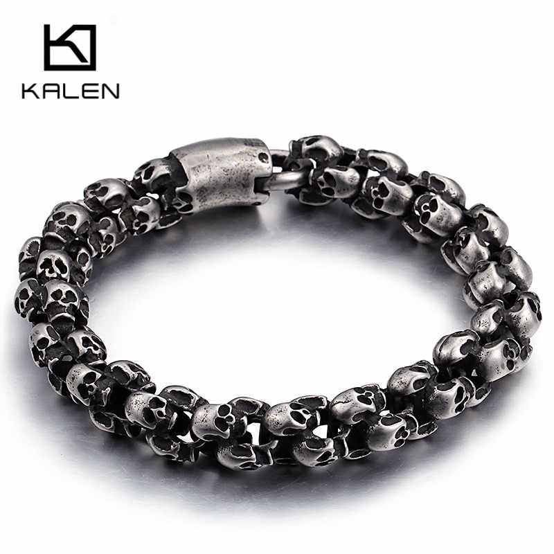 Kalen Punk Long Matte Skull Necklace & Bracelets For Men Stainless Steel Brushed Skull Charm Link Chain Male Gothic Jewelry punk link chain mens womens bracelets chains fashion jewelry charm bracelets wristband bracelets