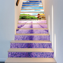 13pcs/set 3D Lavender Flower Sea Stairs Art Mural Walll Sticker 18*100cm Home Decor Step Decoration PVC Self-adhesive Poster