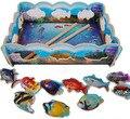 Деревянные игрушки для детей 27.5*20*0.5 см 3D Blue рыбалка Головоломки Монтессори образование игрушки детские день рождения подарок Бесплатная доставка