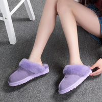 High Quality 100 Sheep Wool Skin Slippers Men And Women Home Baotou Slippers Flat With Indoor