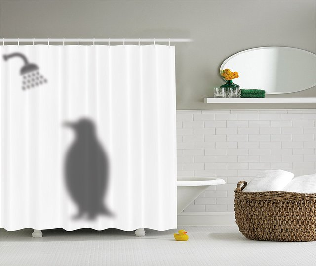 Animals Decor Funny Shower Curtain Penguin Shadow Fun Fabric With Hooks 69 X