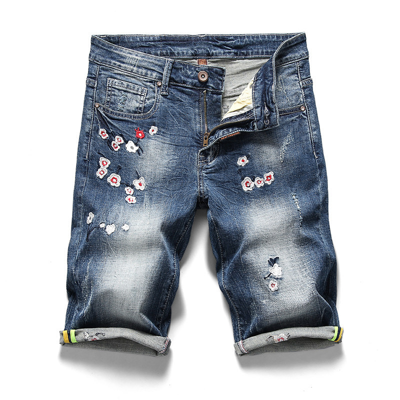 Plus size 28-40(waist 101cm)new mens large size denim pants mans stretch embroidery cowboy Five pants males short trousers
