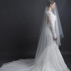Белая слоновая кость обрезанный край один слой свадебная вуаль Часовня Длина Свадебные вуали