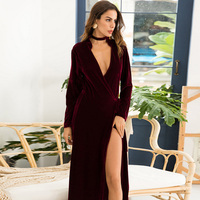 Vintage Cardigan Dress 2019 Spring Sexy V Neck Party Vestidos Women Solid Long Sleeve Pleated Velvet Dress Wine Red Robe Femme