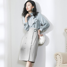 Solid Stand Neck Lantern Sleeve Pullovers Blouse And High Waist Pencil Skirts 2 Piece Skirt Suits 2019 New Women Spring