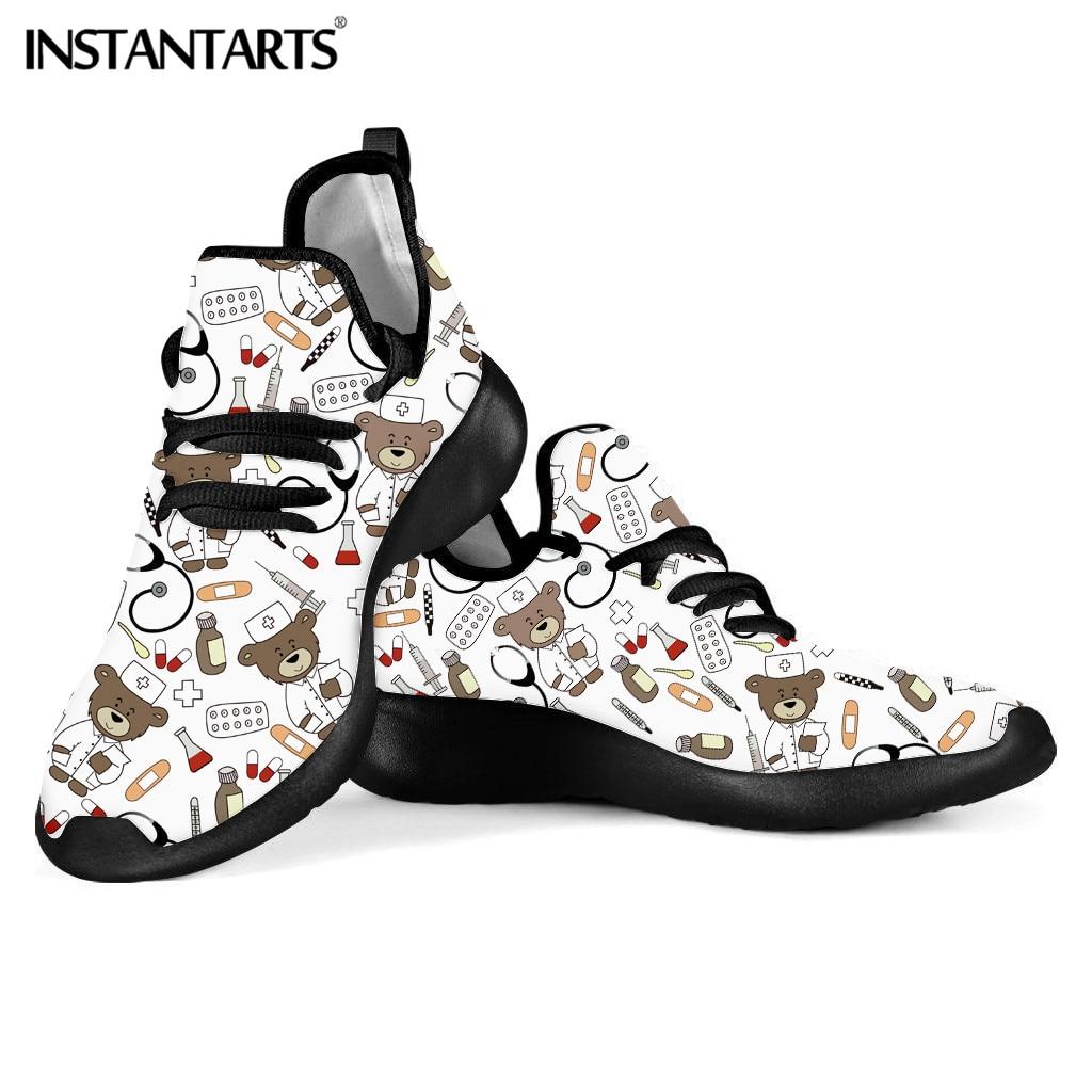 INSTANTARTS White Vulcanize Shos Women Breath Casual Shoes Nurse Flats 3D Nurse Bear Print Pediatric Doctor Mesh Sneakers Summer