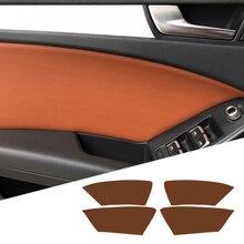 Dla Audi A4 2009 2010 2011 2012 2013 2014 2015 2016 4 sztuk/zestaw klamka do drzwi samochodowych Panel skóra z mikrofibry pokrywa