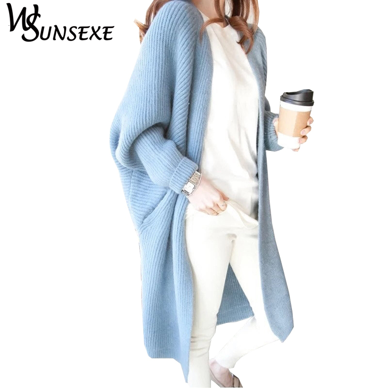Batwing Sleeve Knitted Long Cardigan Sweaters Female Casual Loose Kimono Cardigan Cape 2017 Warm New Autumn Winter Sweater Women