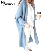 Batwing Sleeve Knitted Long Cardigan Sweaters Female Casual Loose Kimono Cardigan Cape 2017 Warm New Autumn