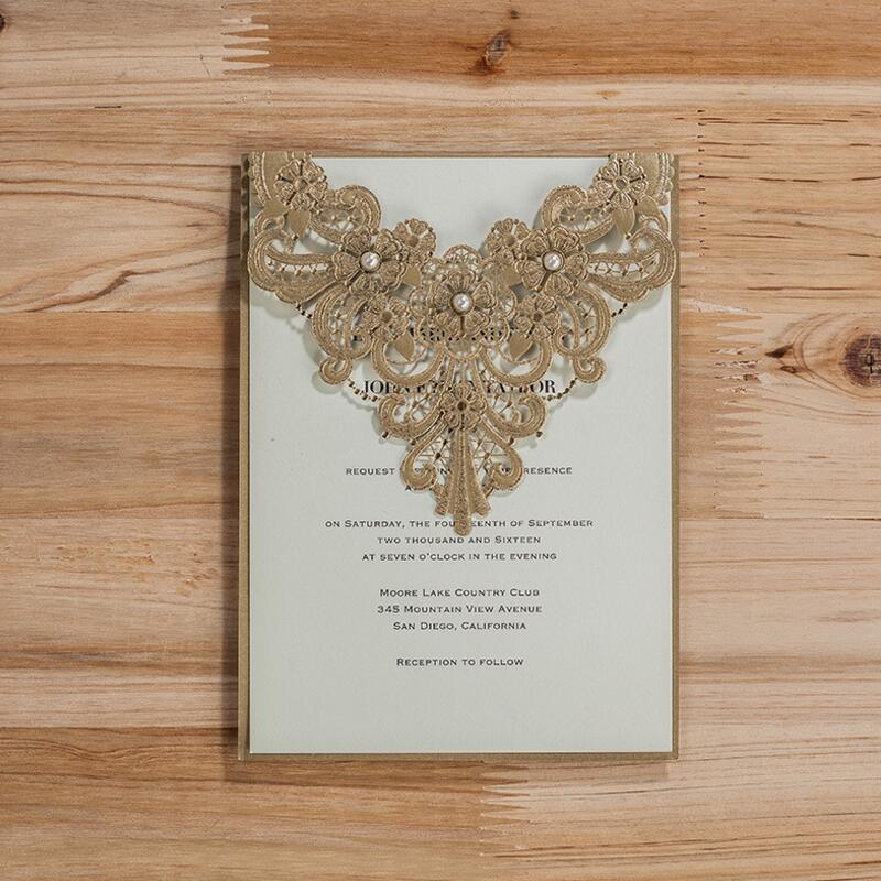50pcs/lot Laser Cut Wedding Invitations with Pearl Flowers Birthday Party Invitation Card for Wedding Supplies Casamento 50pcs pack laser cut wedding invitations cards elegant flowers free printing birthday party invitation card casamento